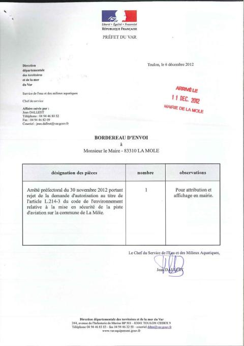Arret Pref La Mole-30-11-2012